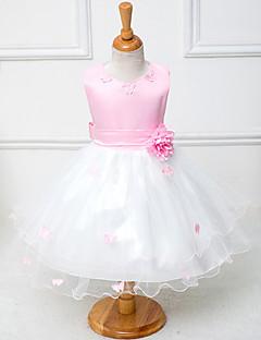 aラインの膝丈フラワーガールドレス - 綿のポリエステルチュールノースリーブの宝石ネックレスby花ydn