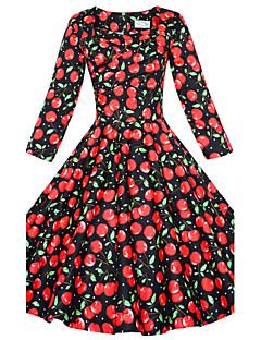お買い得  ヴィンテージドレス-女性用 プラスサイズ ヴィンテージ パフスリーブ ルーズ シース フレア ドレス - フロントクロス, ソリッド 膝丈 スクエアネック