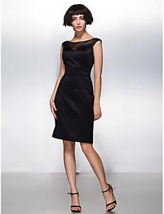 billiga Cocktailklänningar-Åtsmitande Illusion Halsband Knälång Satäng Cocktailfest Klänning med Plisserat av TS Couture®