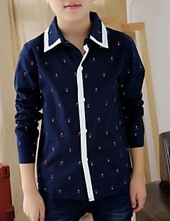 tanie Odzież dla chłopców-Koszula Bawełna Dla chłopców Na każdy sezon Długi rękaw Ciemno niebieski Light Blue