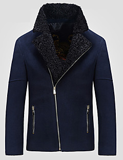billige Herremote og klær-Moderne Stil Frakk-Ensfarget Chic & Moderne Herre