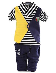 tanie Odzież dla chłopców-Komplet odzieży Bawełna Dla chłopców Wiosna Jesień Długi rękaw Prążki Niebieski