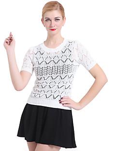 billige Damemode og tøj-Dame Basale Kortærmet Pullover - Ensfarvet, Udhulet