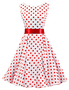 Women's White Red Polka Dot Dress , Vintage Sleeveless 50s Rockabilly Swing Short Cocktail Dress