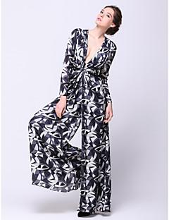 billiga Aftonklänningar-A-linje V-hals Ankellång Chiffong Formell kväll Klänning med Mönster / tryck av TS Couture®