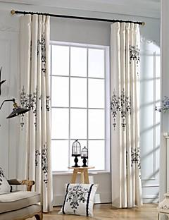 İki Panel Pencere Tedavi Ülke Modern Neoklasik Yatakodası Linen / Pamuk Karışımı Malzeme Perdeler Perdeler Ev dekorasyonu For pencere
