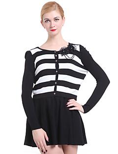 billige Lagersalg-Dame Fritid Pullover - Stripet, Perler