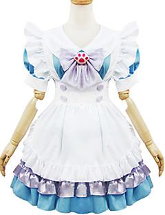 billiga Lolitaklänningar-Gotisk Lolita Gulligt Dam Piguniform Cosplay Vit Blå Kortärmad Kort längd