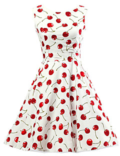 cheap Print Dresses-Women's Going out Vintage Cotton A Line / Skater Dress Cherry, Print / Spring / Fall