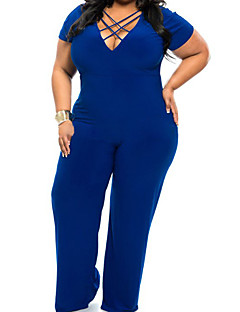 Χαμηλού Κόστους Designed For Elegance-Γυναικεία Μεγάλα Μεγέθη Φόρμες - Μονόχρωμο, Πλισέ Βαθύ V