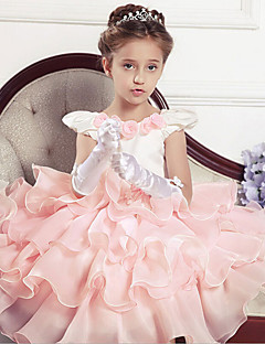 Ball Gown Tea Length Flower Girl Dress - Cotton Sleeveless Jewel Neck with Flower by YDN