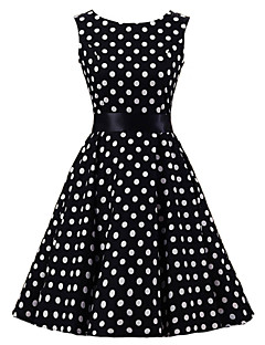Women's Black White Polka Dot Dress , Vintage Sleeveless 50s Rockabilly Swing Short Cocktail Dress