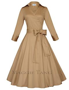 Bayanlar Pamuklu Midi ¾ Kol Uzunluğu Derin V Cepler Bayanlar Elbise