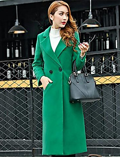Women's Solid Red / Black / Green Coat , Casual Long Sleeve