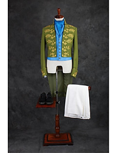 Green Patterns Tailored Fit Cotton Blend Suit - Mandarin Collar No Buttons