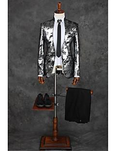 Gri Temalı Kişiye Özel Kalıp Polyester Takım elbise - Mandarin Yaka Tek Sıra Düğmeli Bir Düğme