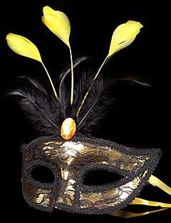 billige Halloweenkostymer-Karneval Maske Maskerade Herre Dame Halloween Karneval Festival / høytid Skinnende Metallisk Drakter Rosa / Lilla / Gylden+Svart Lapper