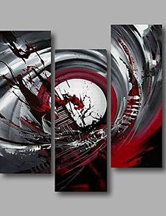 baratos Retratos Abstratos-Pintura a Óleo Pintados à mão - Abstrato Modern Incluir moldura interna / 3 Painéis / Lona esticada