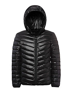 cheap Softshell, Fleece & Hiking Jackets-Men's Hiking Down Jacket Outdoor Winter Thermal / Warm Lightweight Materials Down Winter Jacket Hoodie Top Full Length Visible Zipper