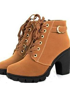 cheap Featured by Bloggers-Women's Shoes Leatherette Fall / Winter Combat Boots Chunky Heel 20.32-25.4 cm / Mid-Calf Boots Lace-up Black / Yellow / Green