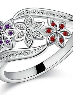 Erkek Kadın's Çift Yüzükleri İfadeli Yüzükler manşet Yüzük Aşk Gelin Som Gümüş Zirkon Flower Shape Mücevher Uyumluluk Düğün Parti Günlük