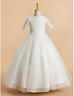 cheap Communion Dresses-A-Line Tea Length Flower Girl Dress - Tulle Short Sleeves Jewel Neck with Lace by LAN TING BRIDE®