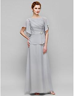 baratos Vestidos para as Mães dos Noivos-Tubinho Bateau Neck Longo Chiffon Vestido Para Mãe dos Noivos com Detalhes em Cristal Drapeado Lateral de LAN TING BRIDE®