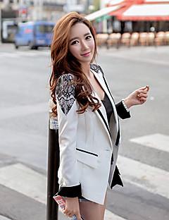 DABUWAWA Women's Patchwork White Blazer , Work / Casual / Day Shirt Collar Long Sleeve
