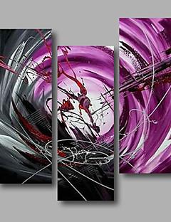 tanie Portrety abstrakcyjne-Hang-Malowane obraz olejny Ręcznie malowane - Streszczenie Nowoczesny Brezentowy / Trzy panele / Rozciągnięte płótno