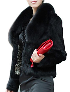 Women's Elegant Faux Fur Pure Color Long Sleeve Short Coat