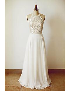 billiga A-linjeformade brudklänningar-A-linje Halterneck Golvlång Chiffong Bröllopsklänningar tillverkade med Spets av LAN TING Express