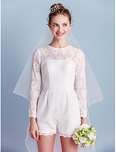 Sheath / Column Jewel Neck Short / Mini Lace Wedding Dress with Sash / Ribbon Bow Pocket by LAN TING BRIDE®