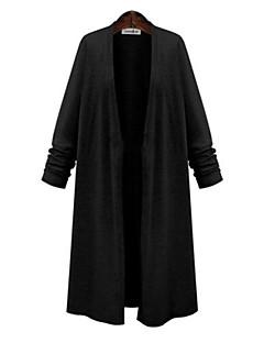 Dames Casual/Dagelijks Grote maten Street chic Lang Vest Effen Lange mouw Katoen Lente Medium Micro-elastisch