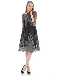 Women's Casual/Daily Sheath Dress,Jacquard Round Neck Above Knee Short Sleeve Black Polyester Summer