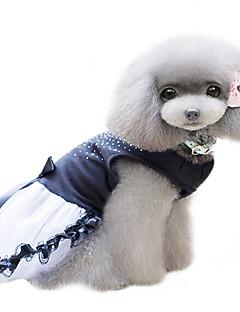 billiga Hundkläder-Hund Klänningar Hundkläder Kristall/Strass Stenar Svart Cotton Kostym För husdjur Dam Mode