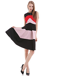 Women's Daily Casual A Line Dress,Striped Round Neck Above Knee Sleeveless Cotton Polyester Summer High Rise