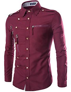 お買い得  メンズファッション&ウェア-男性用 シャツ 軍隊 レギュラーカラー スリム ソリッド コットン / お客様の通常サイズよりワンサイズ上のものを選択して下さい. / 長袖