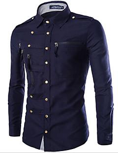 お買い得  メンズシャツ-男性用 シャツ 軍隊 レギュラーカラー スリム ソリッド コットン / お客様の通常サイズよりワンサイズ上のものを選択して下さい. / 長袖