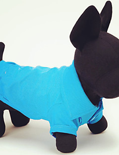 baratos -Gato Cachorro Camiseta Roupas para Cães Casual Sólido Amarelo Vermelho Verde Azul Rosa claro Ocasiões Especiais Para animais de estimação