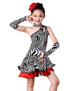 billige Nyheter-Latin Dans Drakter Barne Yteevne Spandex Melkefiber Draperinger 4 deler Kjole Ermer Nakkeklær