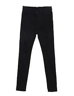 abordables -Femme Micro-élastique Jeans Pantalon,Coton Toutes les Saisons Couleur Pleine