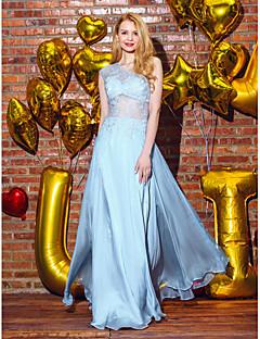billiga Balklänningar-A-linje Enaxlad Golvlång Chiffong / Spets Formell kväll Klänning med Spets av TS Couture®