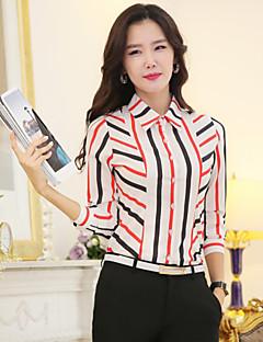 billige Plusstørrelser-Krave Dame - Regnbue, Kryds Plusstørrelser Skjorte Polyester