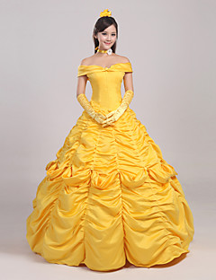 cheap Movie & TV Theme Costumes-Princess Fairytale Dress Cosplay Costume Women's Girls' Movie Cosplay Yellow Headpiece Gloves Petticoat Christmas New Year Satin