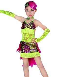 Latin Dans Drakter Barne Yteevne Blonde Fjær 5 deler Kjole Ermer Nakkeklær Hodeplagg
