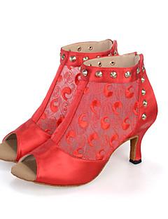 hesapli -Kadın's Salsa Ayakkabıları Elastik Kumaş Sandaletler / Botlar / Topuklular Perçin / Saten Çiçek / Fermuar Kıvrımlı Topuk Kişiselleştirilmiş Dans Ayakkabıları Siyah / Kırmızı / Bej / Performans / Deri