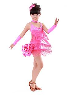 Dança Latina Vestidos Crianças Actuação Algodão Elastano 4 Peças Sem Mangas Alto Vestido Luvas Neckwear