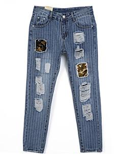 preiswerte Zerrissen-Damen Street Schick Mikro-elastisch Jeans Hose, Baumwolle Ganzjährig