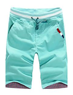 billige Herrebukser og -shorts-Herre Bukser Uelastisk Rett Shorts Avslappet Bukser, Medium Midje Bomull Polyester Bomullsblanding Ensfarget Helfarge