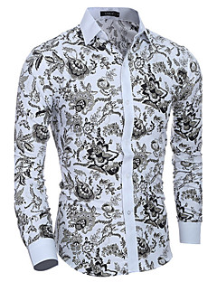 Men's Daily Casual Spring Fall Shirt,Print Long Sleeves Cotton